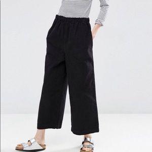 Cropped wide leg corduroy pants